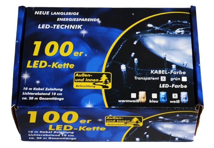 Garth świąteczny LED łańcuch - 9 m, 100 diod, zimna biel