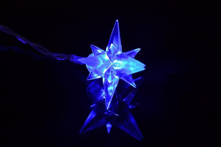 Lampki świąteczne 40szt led ozdobne gwiazdki - niebieskie