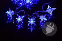 Świąteczne LED lampki - niebieskie gwiazdki, 4m