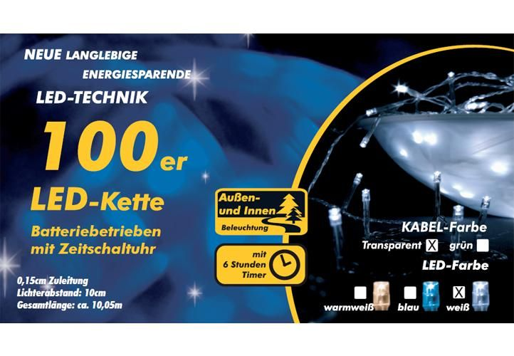 Świąteczny LED łańcuch - 10 m, 100 diod, zimna biel