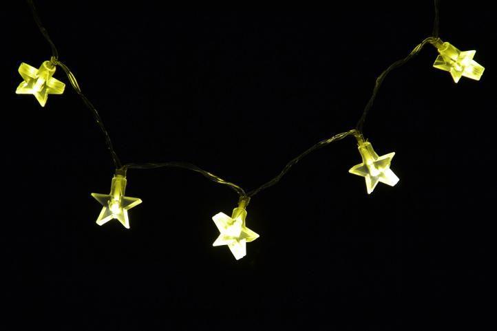 Łańcuch lampek LED - 20 lampek na baterie gwiazdki– ciepły biały