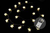 Świąteczny świetlny łańcuch - gwiazdki, ciepła biel