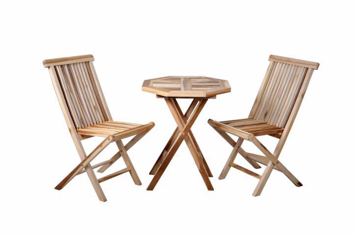 Komplet 2 x składane krzesła 1 x stolik DIVERO z drewna tekowego