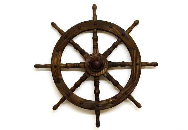 Koło sterowe drewniane Garth - stylowa rustykalna dekoracja 80 cm