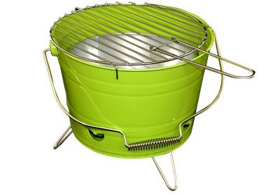 Grill ogrodowy wiaderko mini BBQ przenośny zielony