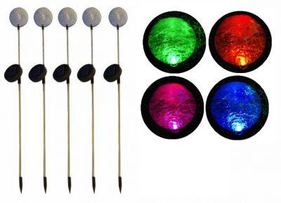 Komplet 5 x lampa ogrodowa Garth solarna LED w kształcie kuli (zmienia kolory)