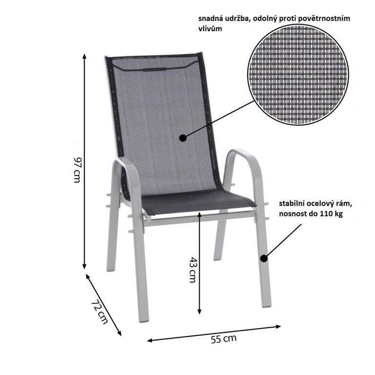 Zestaw czterech krzeseł ogrodowych w kolorze antracytowym