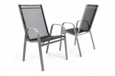 Komplet 2 x krzesła ogrodowe antracytowe