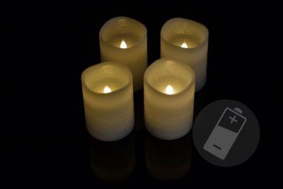 Dekoracyjny zestaw LED - 4 adwentowe świeczki - biały