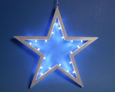 Świąteczna dekoracja – wisząca gwiazda – zimny biały 25,5 cm 20 LED