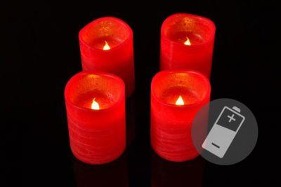 Dekoracyjny zestaw - 4 adwentowe LED świece, czerwone