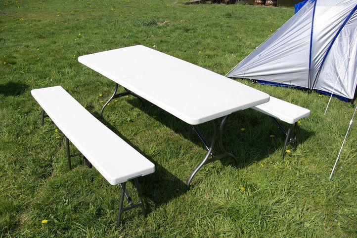 Komplet składany stół ogrodowy campingowy Garth 183 cm + 2 składane ławki