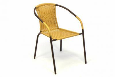 Krzesło ogrodowe na taras z polirattanu beżowe