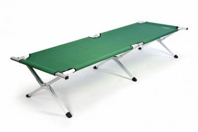 Przenośne aluminiowe składane łóżko DIVERO 210 x 64 x 42 cm - zielone