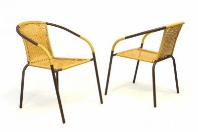 Zestaw 2 krzeseł ogrodowych bistro - na stos, beżowy