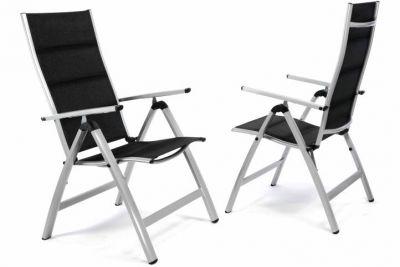 Zestaw 2 szt luksusowych regulowanych aluminiowych czarnych krzeseł