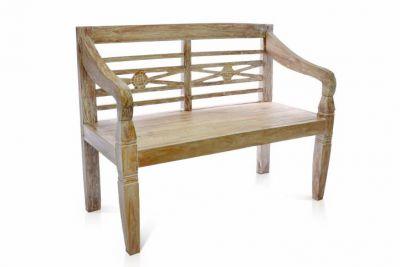 Ławka ogrodowa DIVERO 2-osobowa z litego drewna tekowego 115 cm