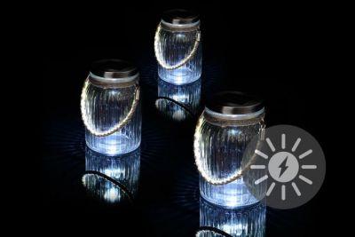 Zestaw 3 lampionów solarnych szklanych