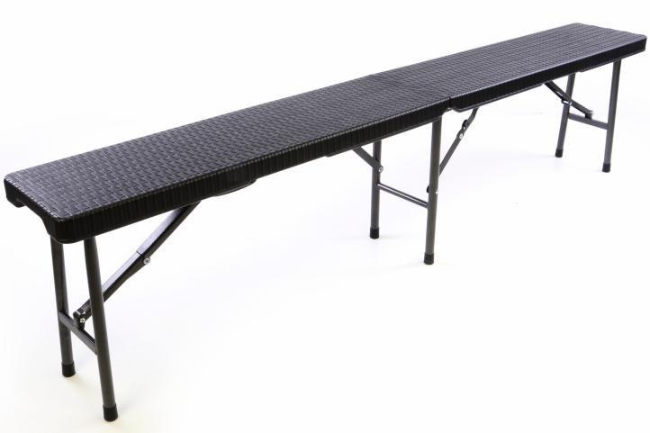Zestaw dwóch ławek ogrodowych z rattanu 180 x 25 x 43 cm