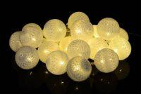 Świąteczne dekoracje - 20 szt kule światła - ciepłe białe LED 20