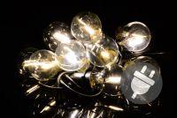 Oświetlenie ogrodowe party LED - szklane żarówki - 5 m ciepłe białe
