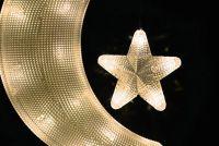 Dekoracje świąteczne - księżyc z gwiazdą - ciepła biel