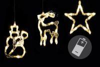 Ozdoby świąteczne na oknie - gwiazda, bałwan, renifer - LED CLEAR