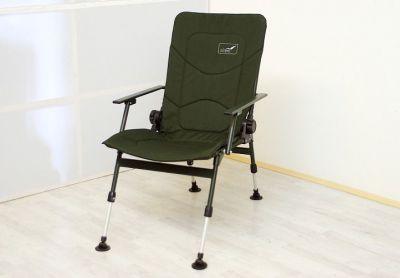 Krzesło wędkarskie turystyczne z podłokietnikami, zielone