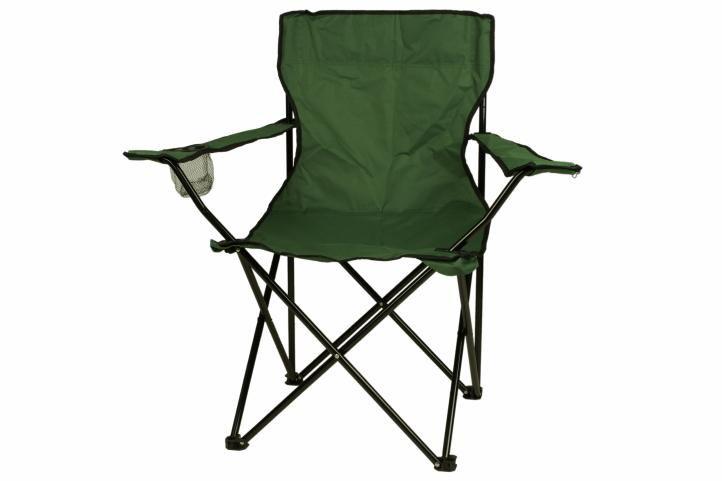 Turystyczne kampingowe krzesło składane zielone z miejscem na napoje