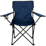 Turystyczne krzesło składane niebieskie z miejscem na napoje