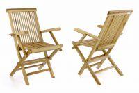 Zestaw 2 sztuk krzeseł ogrodowy DIVERO składane - drewno tek
