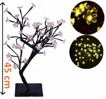 Dekoracyjne LED oświetlenie - drzewo z kwiatami, ciepłe białe