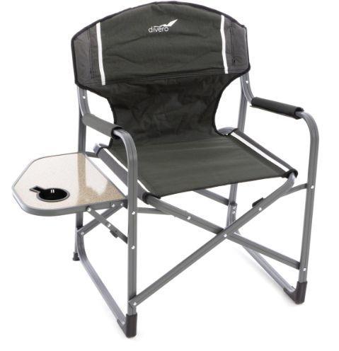 Campingowe krzesło składane ze stołem i uchwytem na napoje