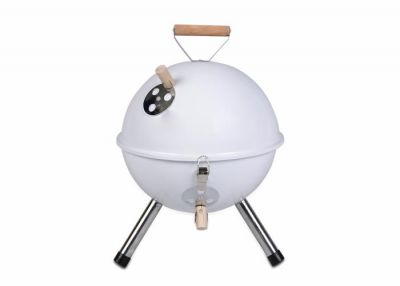Kolorowy kulisty grill przenośny - biały