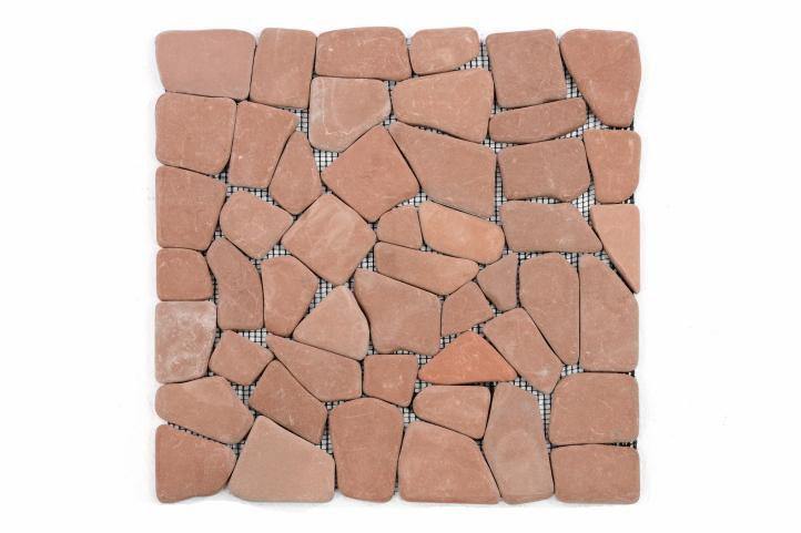 Mozaika marmurowa Garth na siatce czerwona/terakota 1 mata