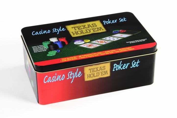 żetony do pokera 200 szt  w blaszanym pojemniku