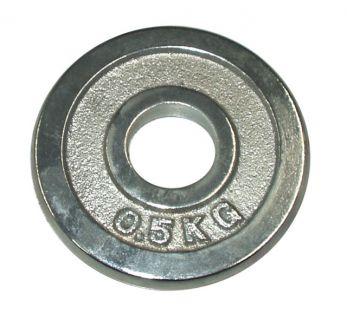 Talerz chromowany do sztangi 0,5 kg 25 mm