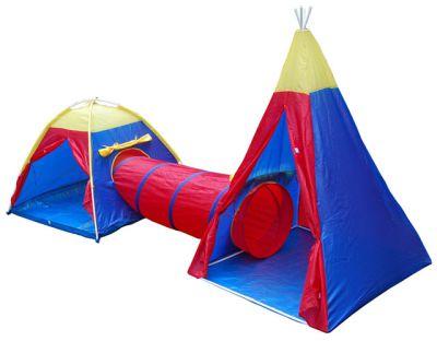 Zestaw dla dzieci - 2 namioty z tunelem łączącym