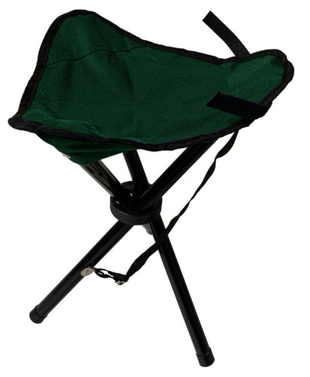 Składane krzesło -trójnóg  z siedziskiem - zielony