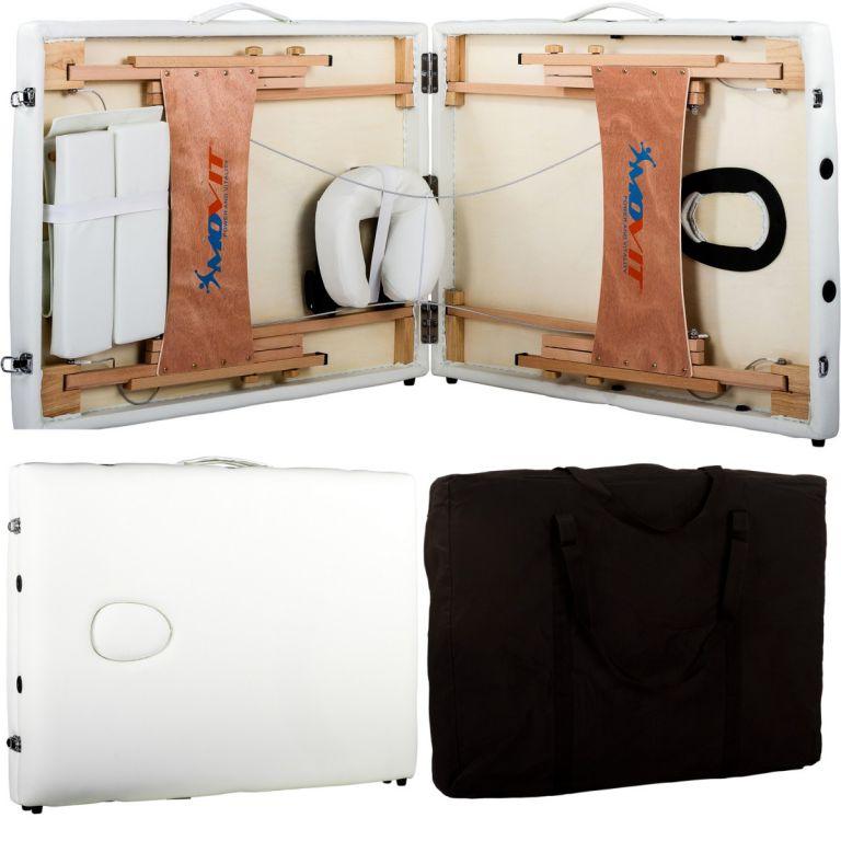 Przenośne łóżko do masażu MOVIT białe + torba