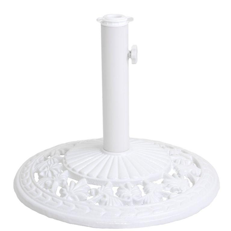 Podstawa żeliwna okrągła biała pod parasol 16 kg