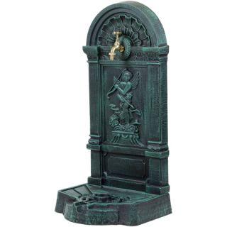 Żeliwny WODNIK Retro - fontanna ogrodowa ciemny zielony / czarny