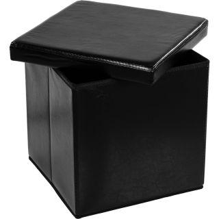 Pufa ze schowkiem składana czarna