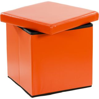 Pufa ze schowkiem składana pomarańczowa
