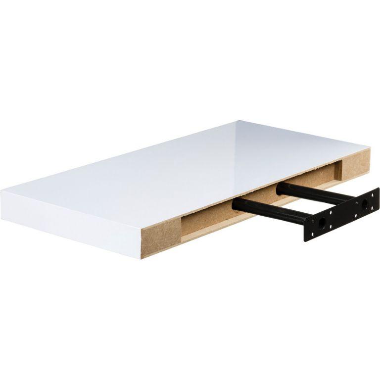 Półka ścienna STILISTA Volato wisząca biała z połyskiem 50 cm