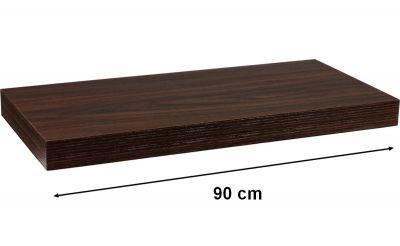 Półka ścienna STILISTA Volato wolnowisząca w kolorze ciemnego drewna, 90 cm
