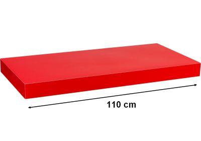 Półka ścienna STILISTA Volato wolnowisząca czerwona z połyskiem,110 cm