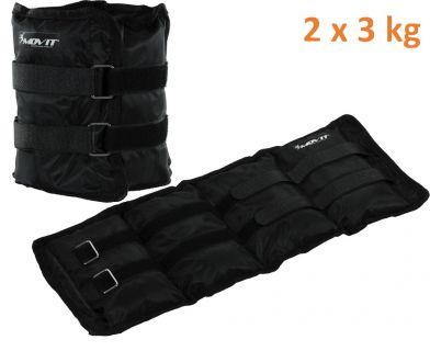 Obciążniki MOVIT na ręce i nogi do ćwiczeń 2 x 3 kg czarne