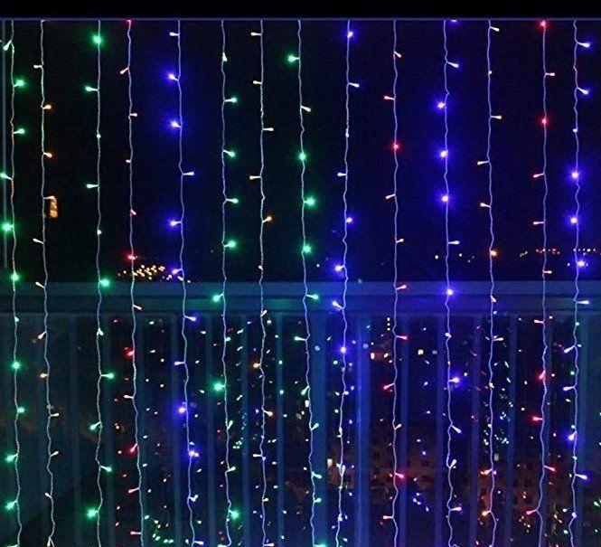 Świąteczna kurtyna świetlna - 3x3 m, 300 LED, kolorowa
