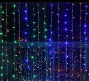 Świąteczne oświetlenie - świecąca kurtyna 3x3 m - kolorowe 300 LED
